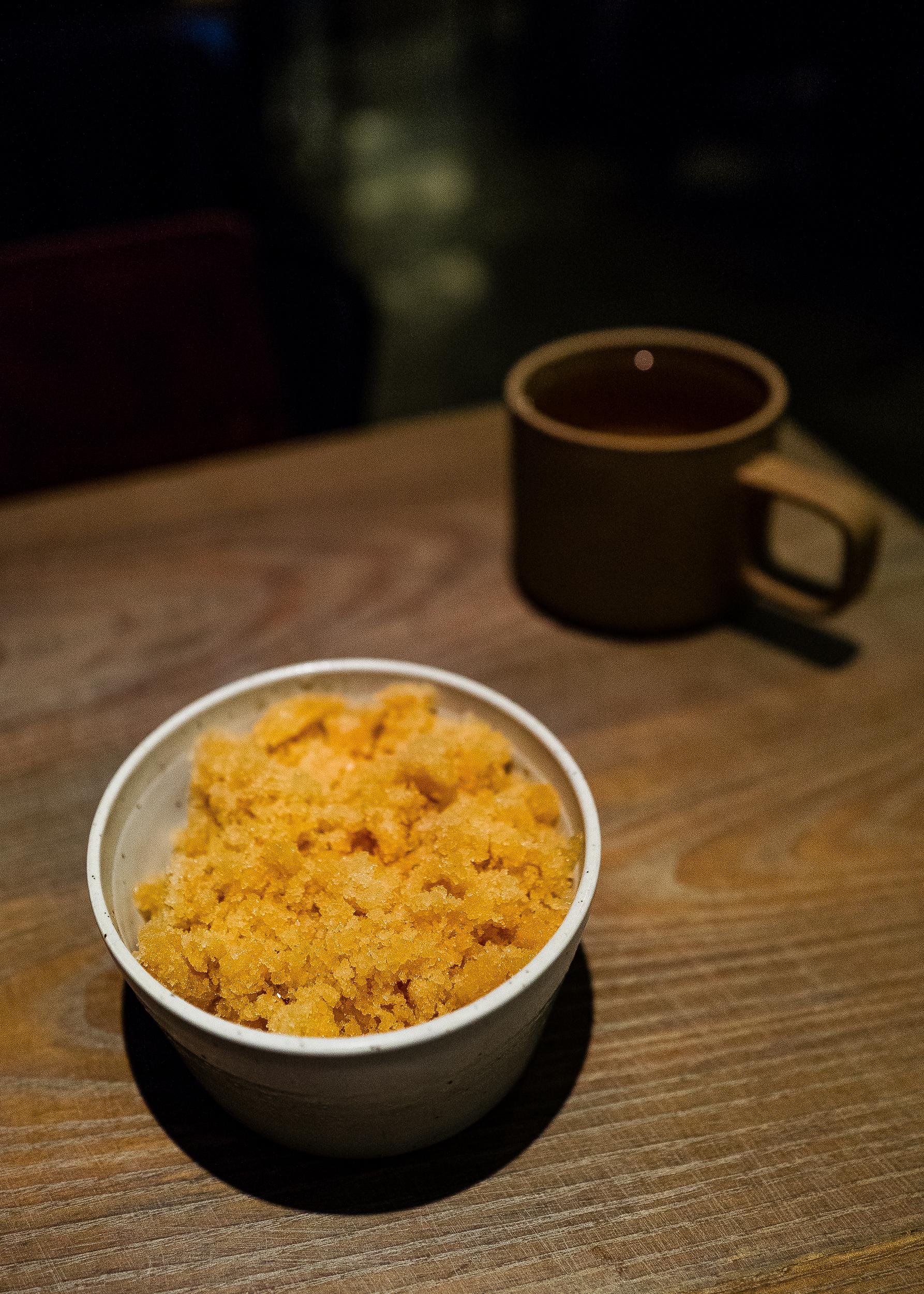 Sujeonggwa (Cinnamon Punch) Granita, Burrata, Walnut, Lychee. Corn Tea.