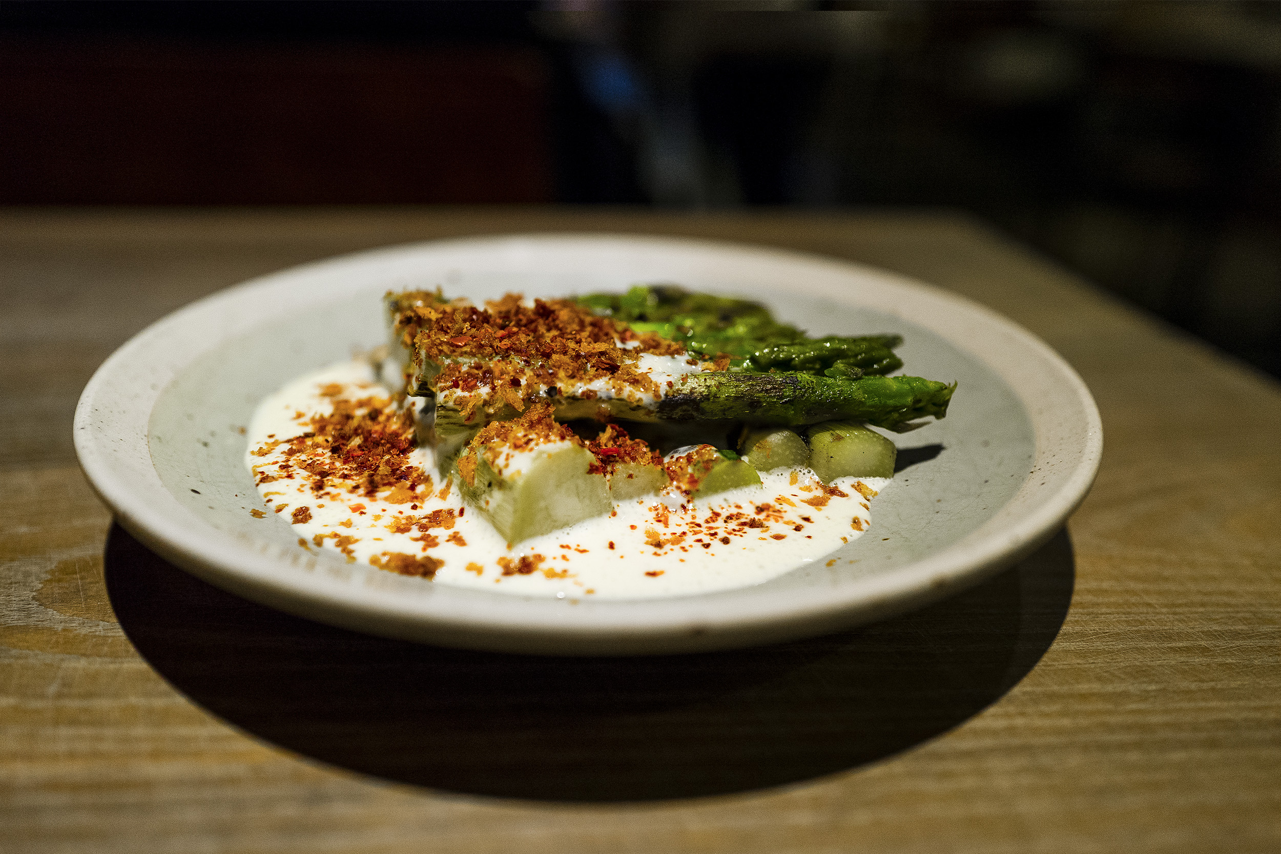 Asparagus, Egg Yolk, Black Sesame, Aleppo Pepper