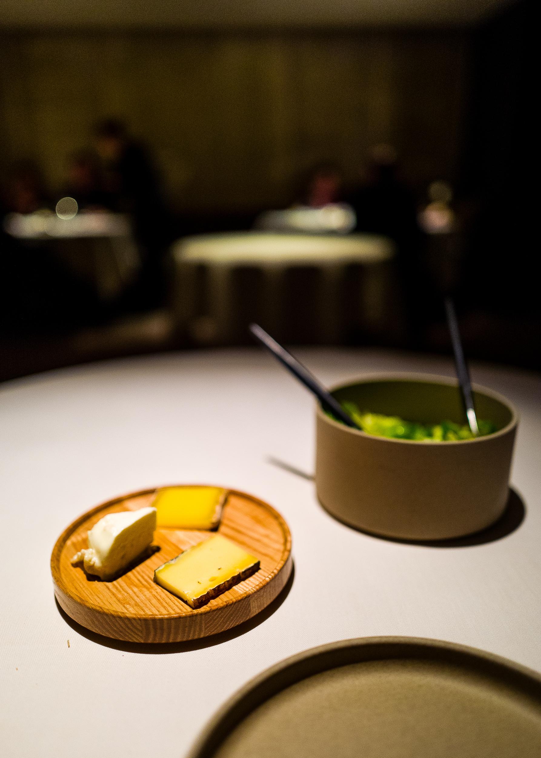 Bernard Antony's Cheeses, Green Salad, Bread Toast