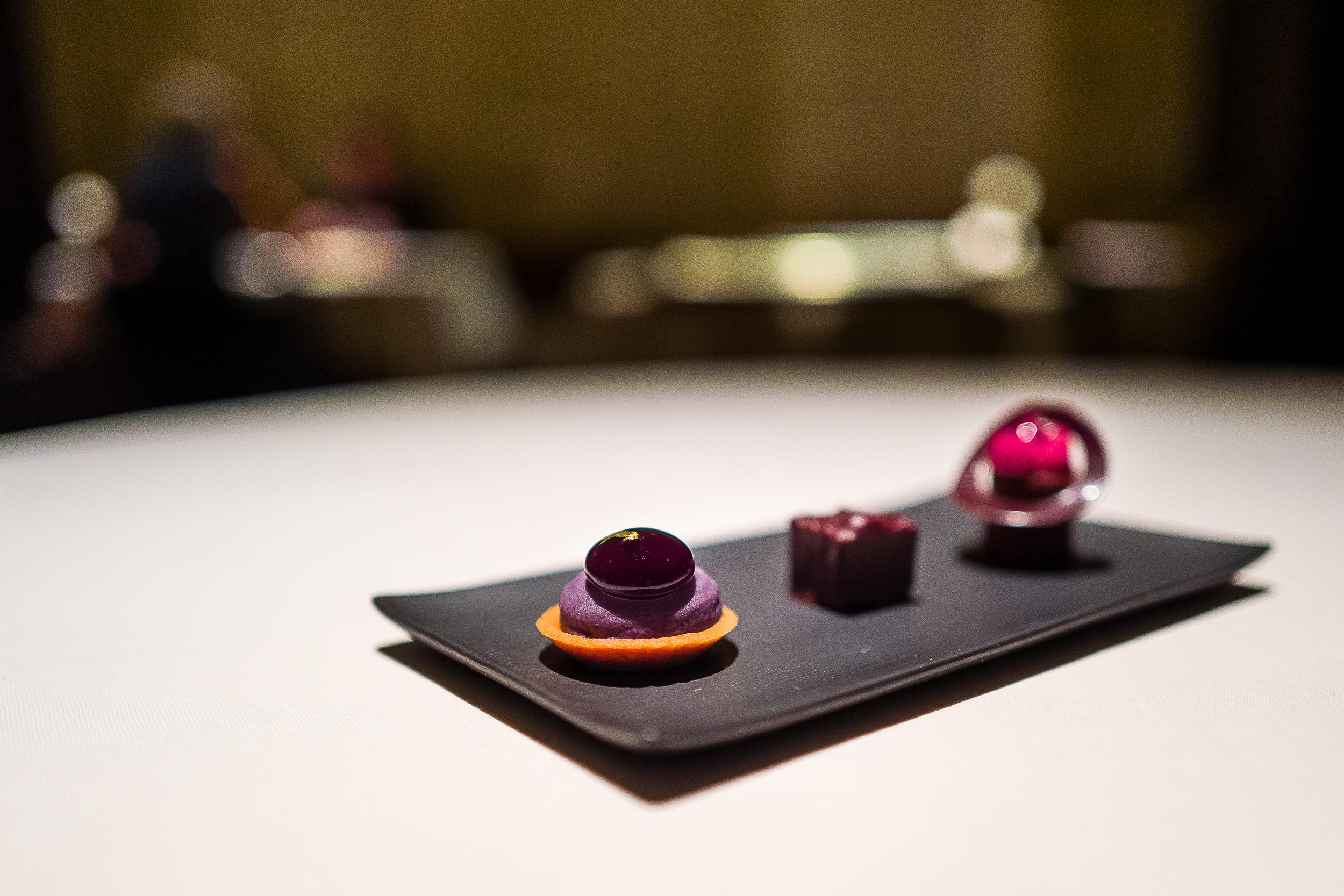 Blueberry Tartelet, Chocolate Rocher, Raspberry and Chocolate