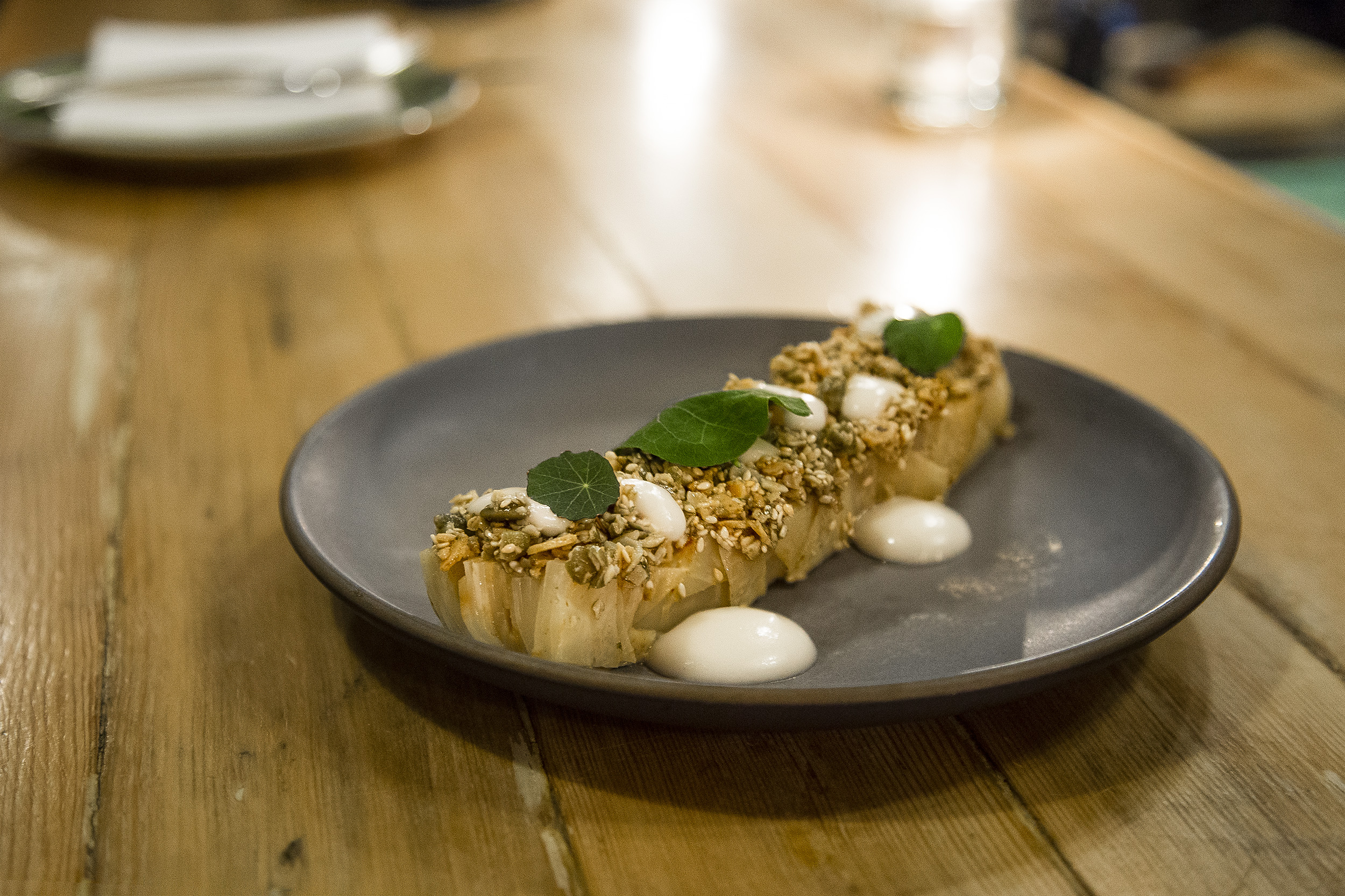 Celeriac Terrine, Sake Kasu, Sesame.