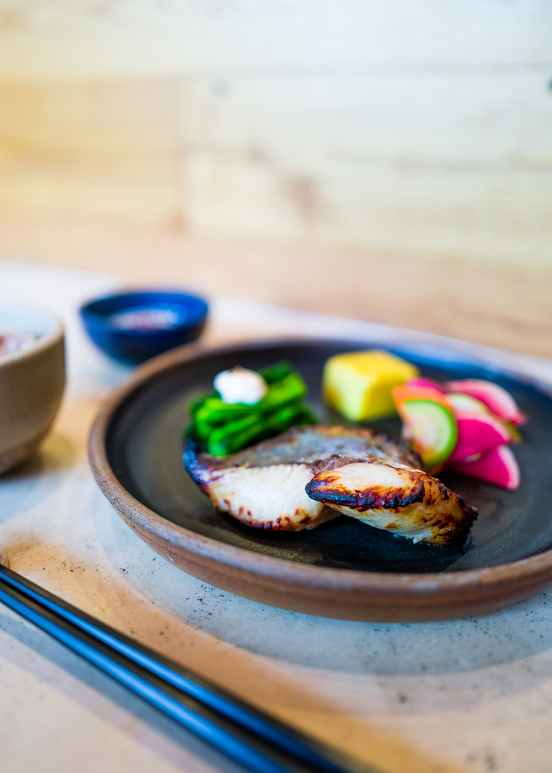Mackerel cooked with sake lees. They do not only offer mackerel, but it's one of my favorite, so I tend to order it whenever it's on a menu.