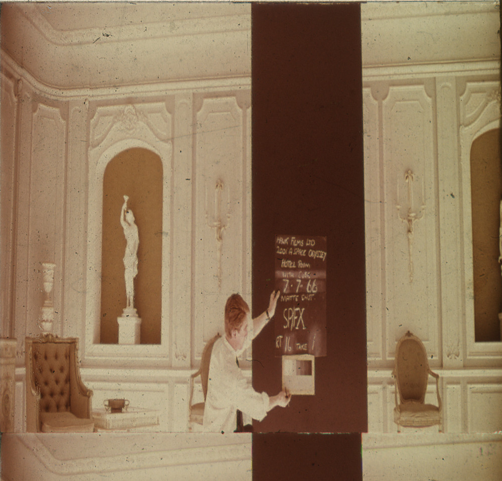 Kubrick's  2001: A Space Odyssey  (1968)  Look at that special FX slate with the greyscale in frame and the monolith!