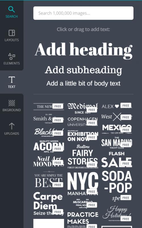 Canva choose fonts