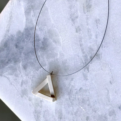 Petite Cream Triangle Necklace