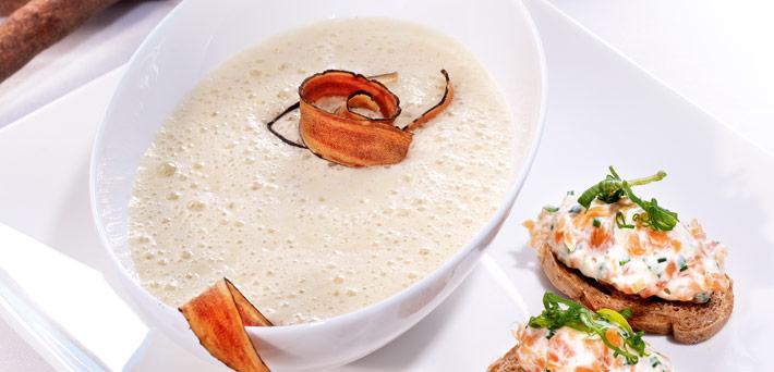 Salsify Soup with Salmon Crostini