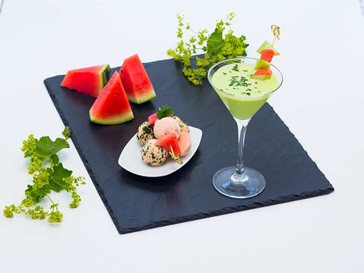Cold Cucumber Soup with Water Melon Ice Cream