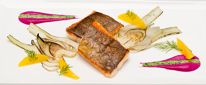 Arctic Char Fillet with Orange Fennel Vegetables, Beetroot Coulis and Coriander Mayonnaise