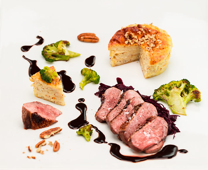 Roasted Duck Breast with Baked Quark Crepes and Red Cabbage with Orange
