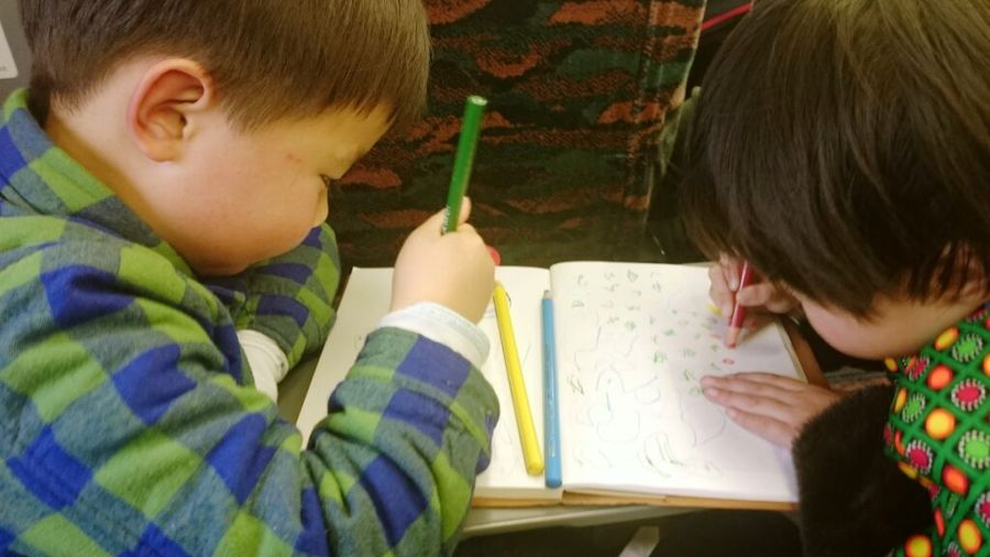 I take this picture when I was on the train from Wuxi to Shanghai in China, and this two kids sit beside me with their parents, so I just tell them to sketch in my sketchbook for fun. By the way this girl and the boy were stranger.