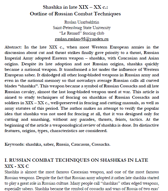 Shashka in late XIX – XX c : Outline of Russian Combat