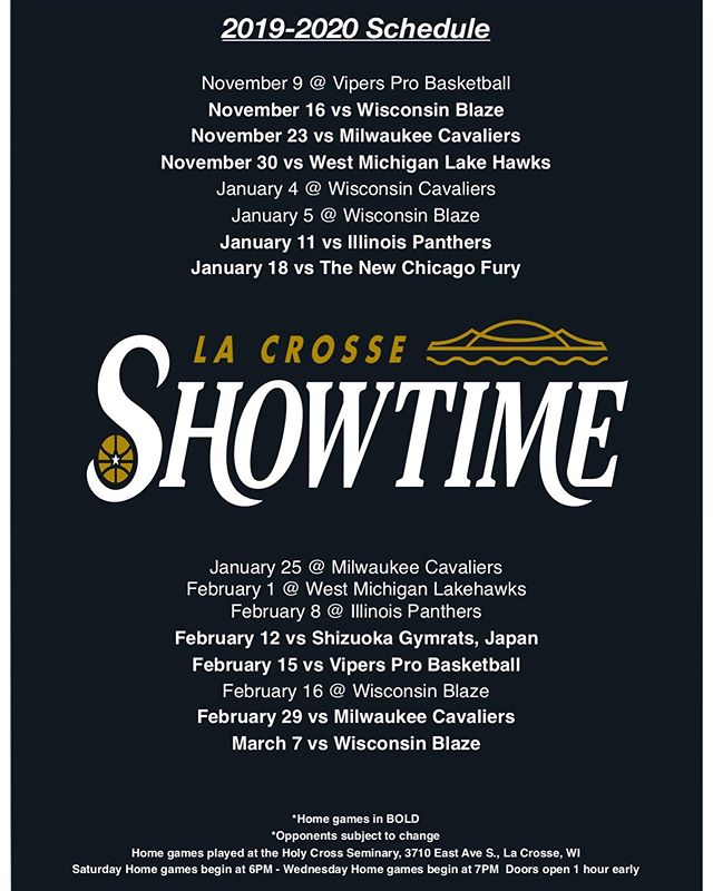La Crosse Showtime Official Schedule is out!!! Tickets on sale now at https://la-crosse-showtime.ticketbud.com Season Pass just $50 and includes a t-shirt and hat per pass while supplies last!!!!
