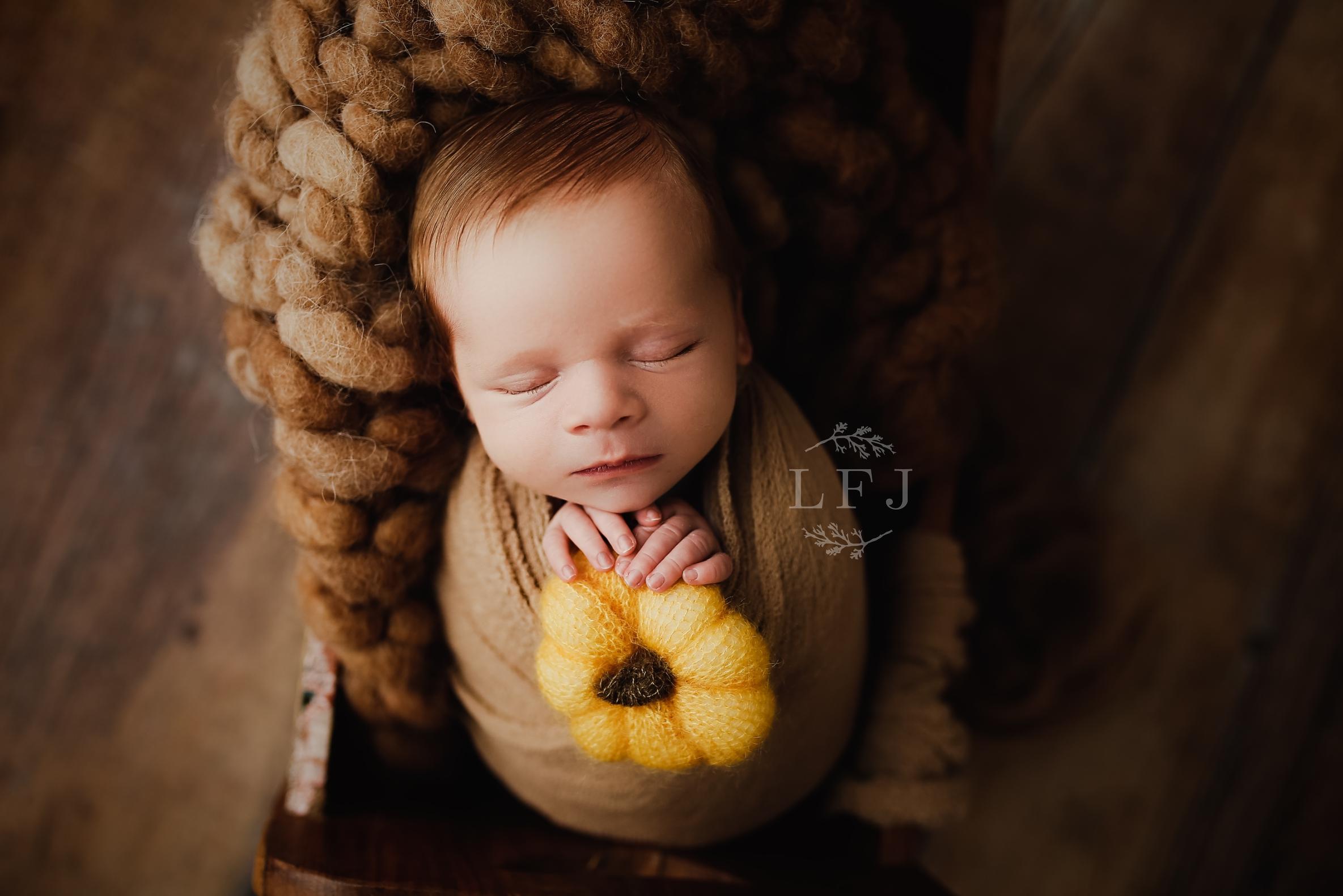 Wayne-Baby -Photographer-wrap-boy-pumpkin-Fall-neutrals