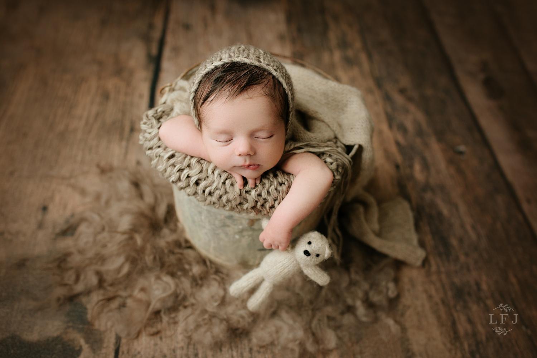 morris county-newborn-photographer-baby-bucket*teddy-wood-bear