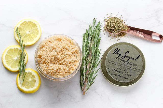 Our Marjoram, lemon and rosemary body scrub is another one of our returning spring blends. This blend of essential oils is stimulating, focusing and may help with stress. All body scrubs available in 3 sizes: 8oz, 4oz and our Minis (2oz)!