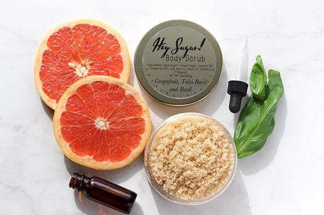 This Grapefruit, tulsi basil and basil body scrub is one of our returning spring blends. This blend of essential oils is focusing and can help reduce stress and tension.