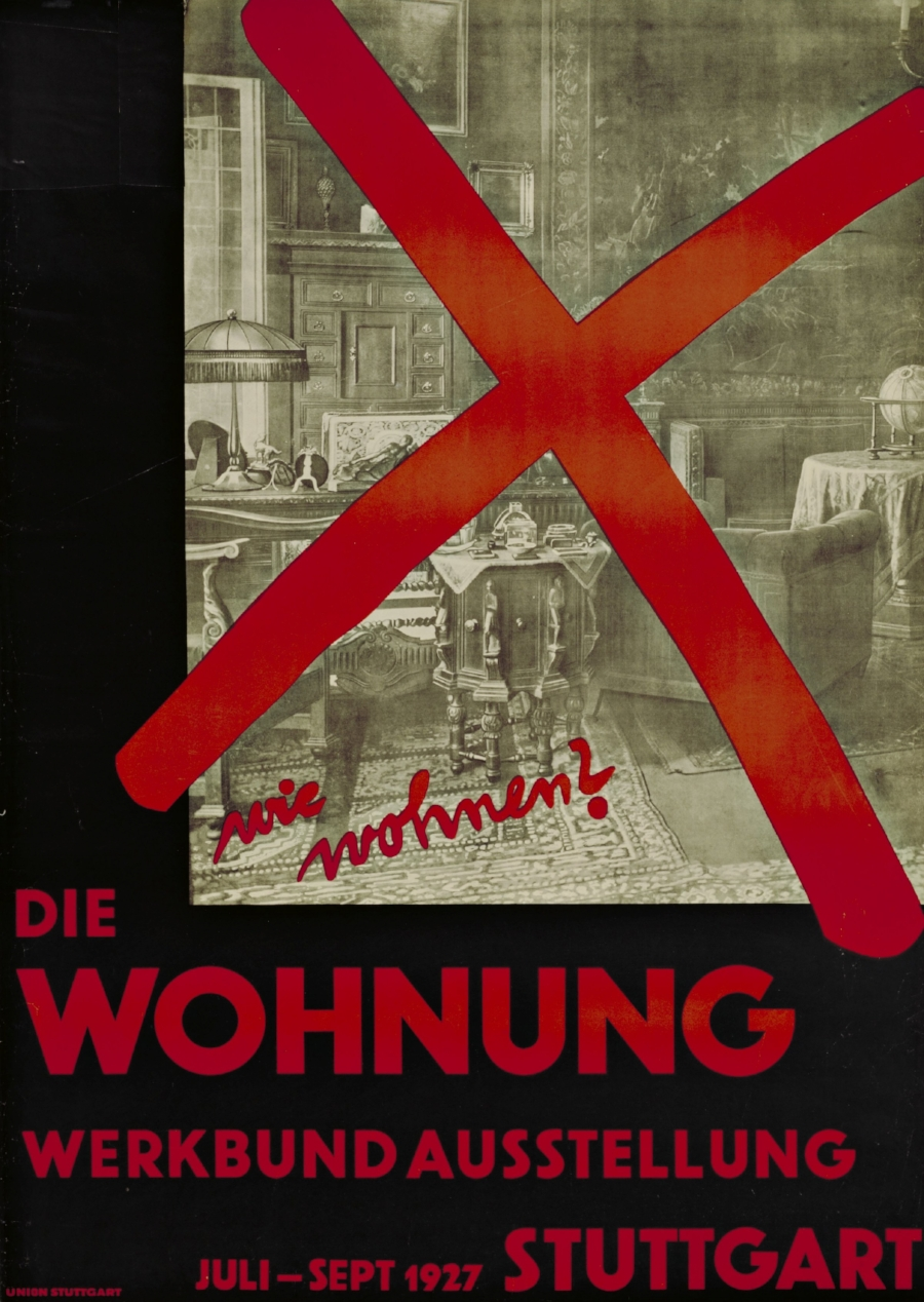 Willi Baumeister,  Wie wohnen? Die Wohnung (How Should We Live? The Dwelling) , Poster for an exhibition organized by the Deutsche Werkbund at the Weissenhofsiedlung, Stuttgart, Germany. 1927. © The Museum of Modern Art, New York.