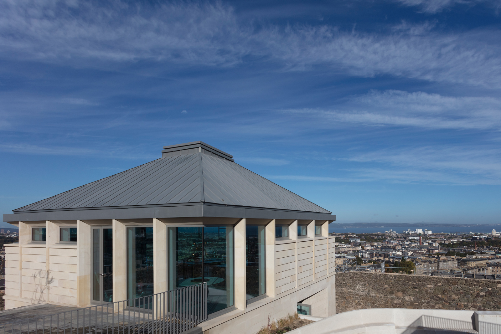 The entrance to The Lookout, which leads to floor-to-ceiling windows offering spectacular views.