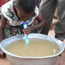 The Life Straw filters dirty water and eliminates harmful bacteria.