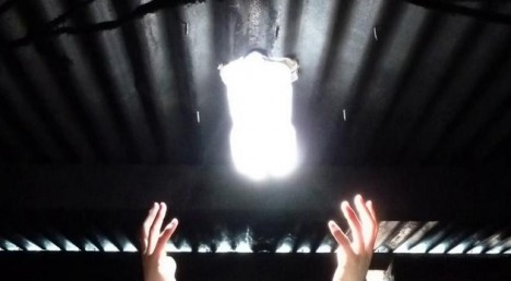 Water bottle used as light