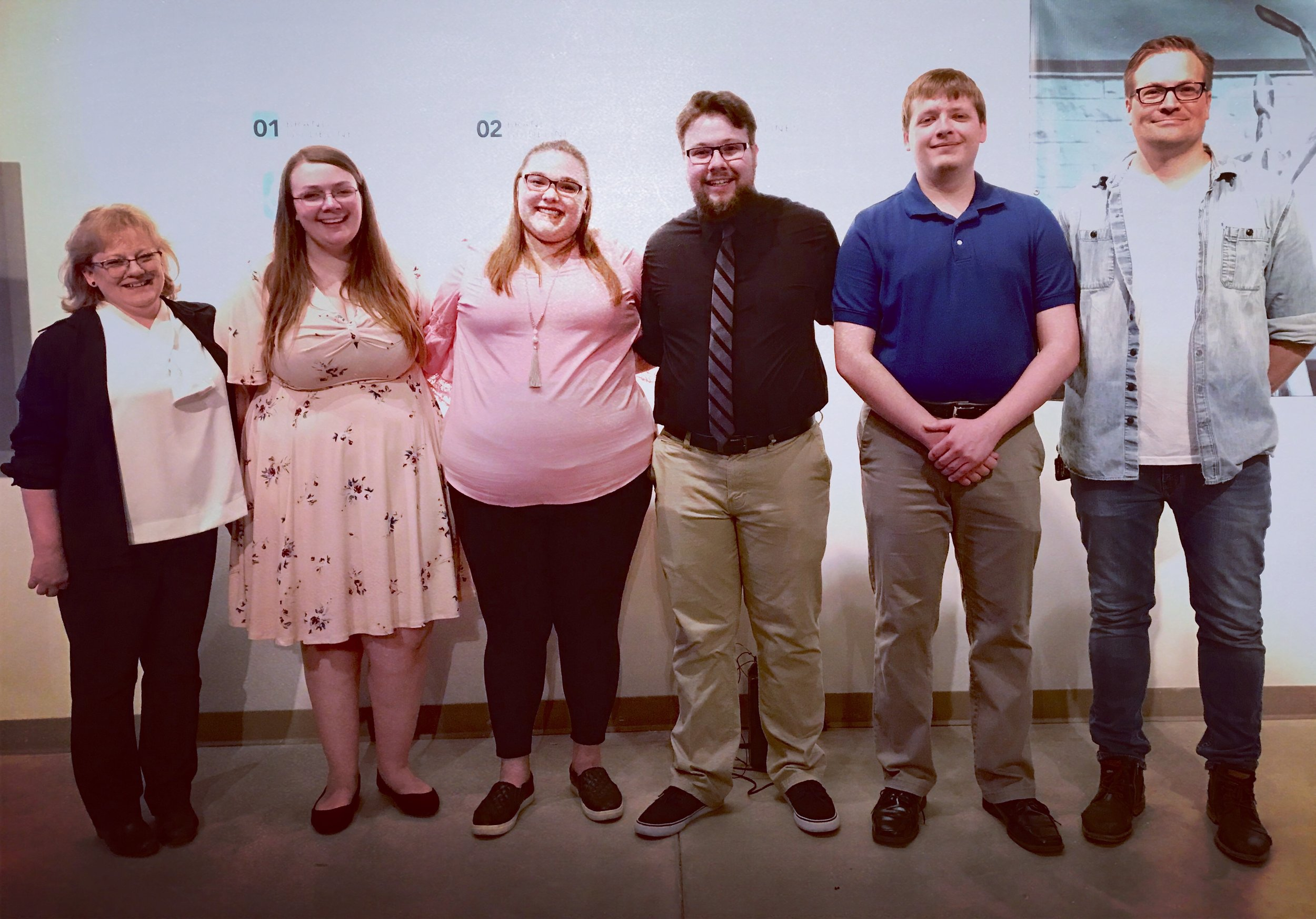 Mary Mello-Nee, Kayla Sweet, Sarah Mueller, Austin Dean, Travis Heth, David Boelter. Senior show case on May 4th 2019.