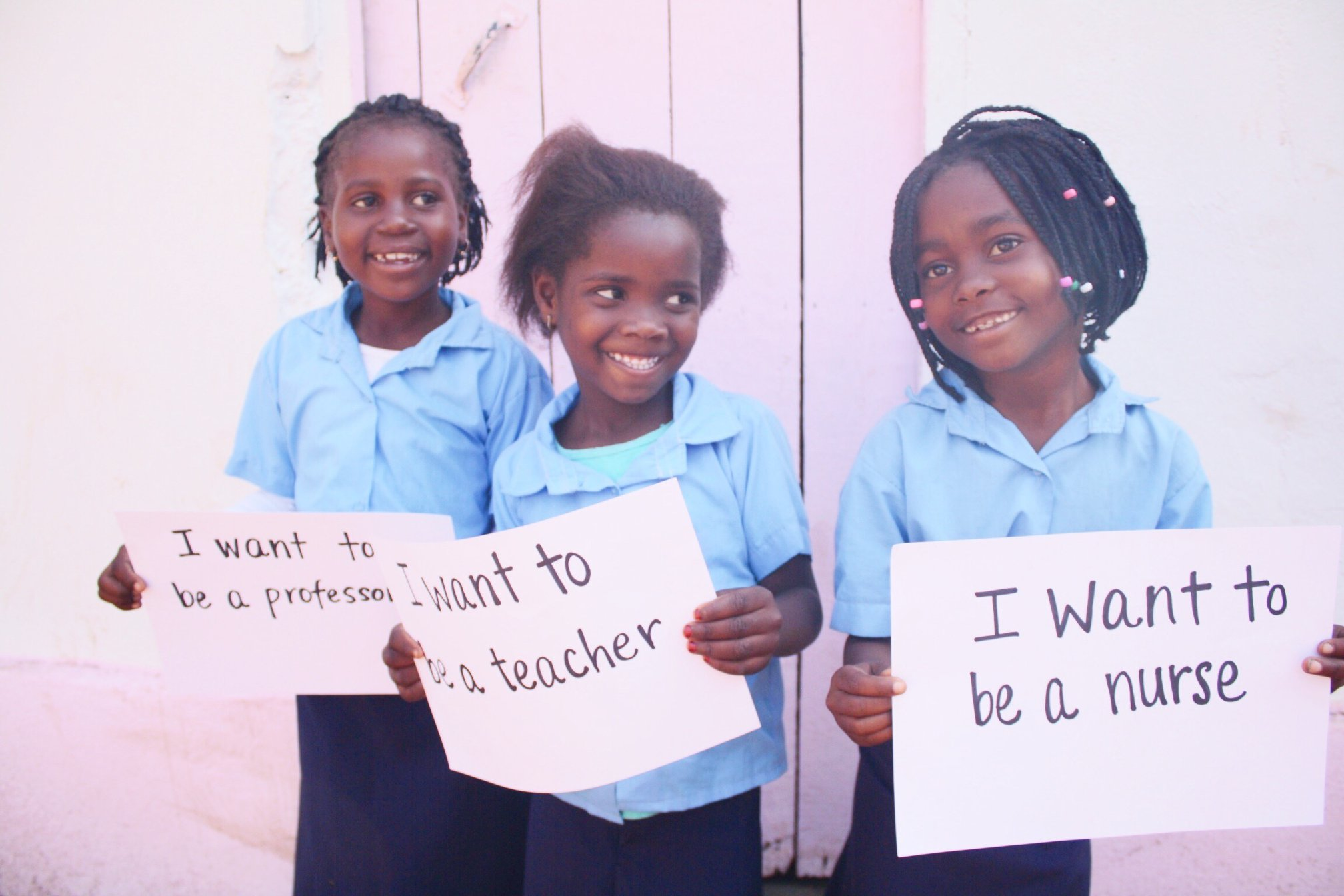 Because of last year's campaign, these three girls, Mayita, Ética, and Gilda, were able to start first grade and start to dream for the future! Kurandza sent 100 girls to school last year, and this year their goal is to double that.