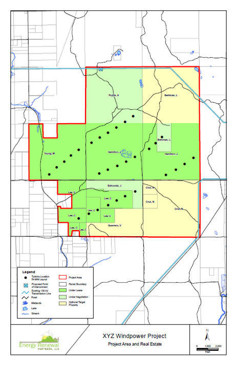 Wind Farm Layouts and Landowner Research/Mapping for Focused Land Targeting