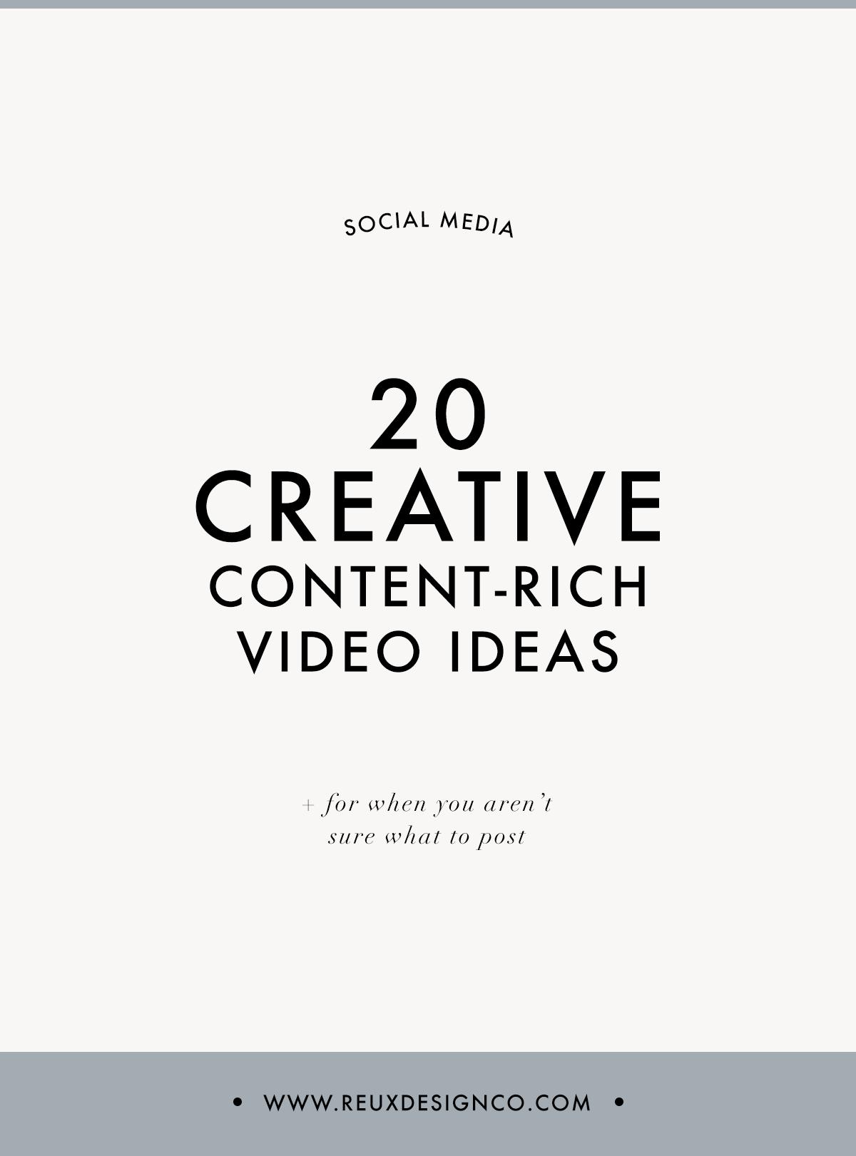 20 Creative, content rich, no fluff video ideas for your business   Reux Design Co.