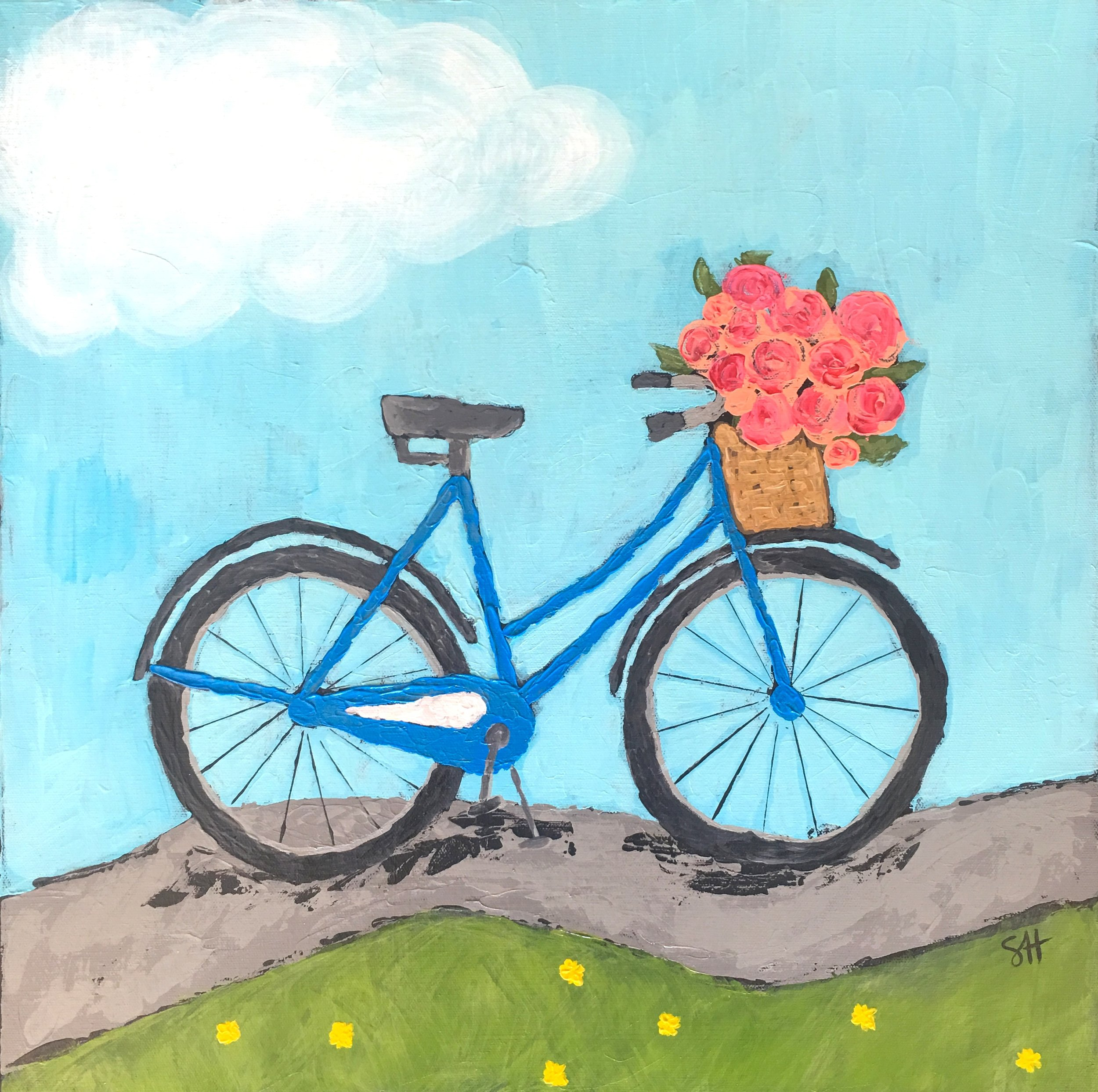 Enjoy the Ride; Acrylic on gallery wrapped canvas; 24x24