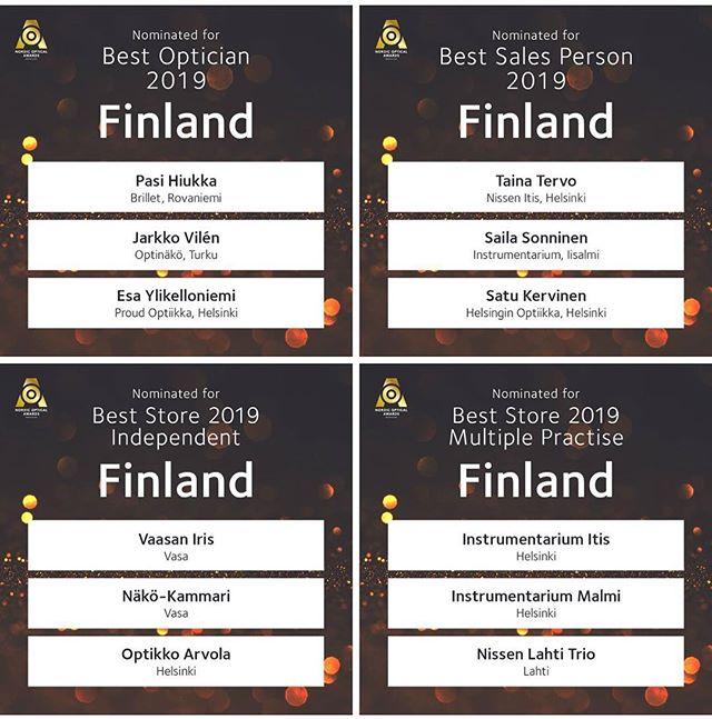 Näköasiantuntijat ovat upeasti edustettuina Tukholmassa viikonloppuna jaettavissa Nordic Optical Awards -palkintojen finalistien joukossa. Ehdolla Parhaaksi optikoksi ovat Jarkko @optinako ja Pasi @brilletoptikko, Parhaaksi myyjäksi Satu @helsinginoptiikka1958 sekä Parhaaksi yksityiseksi optikkoliikkeeksi @irisoptikkofi 🏆 Onnea kisaan kaikille, lauantaina jännitetään voittajia! 🏅 #näköasia #nclf #nordicopticalawards #nordiccontactlensforum #brilletoptikko #optinäkö #helsinginoptiikka #irisoptikko