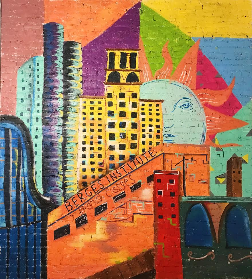 Mural at Berges Institute Chicago by Rubi Nogueron