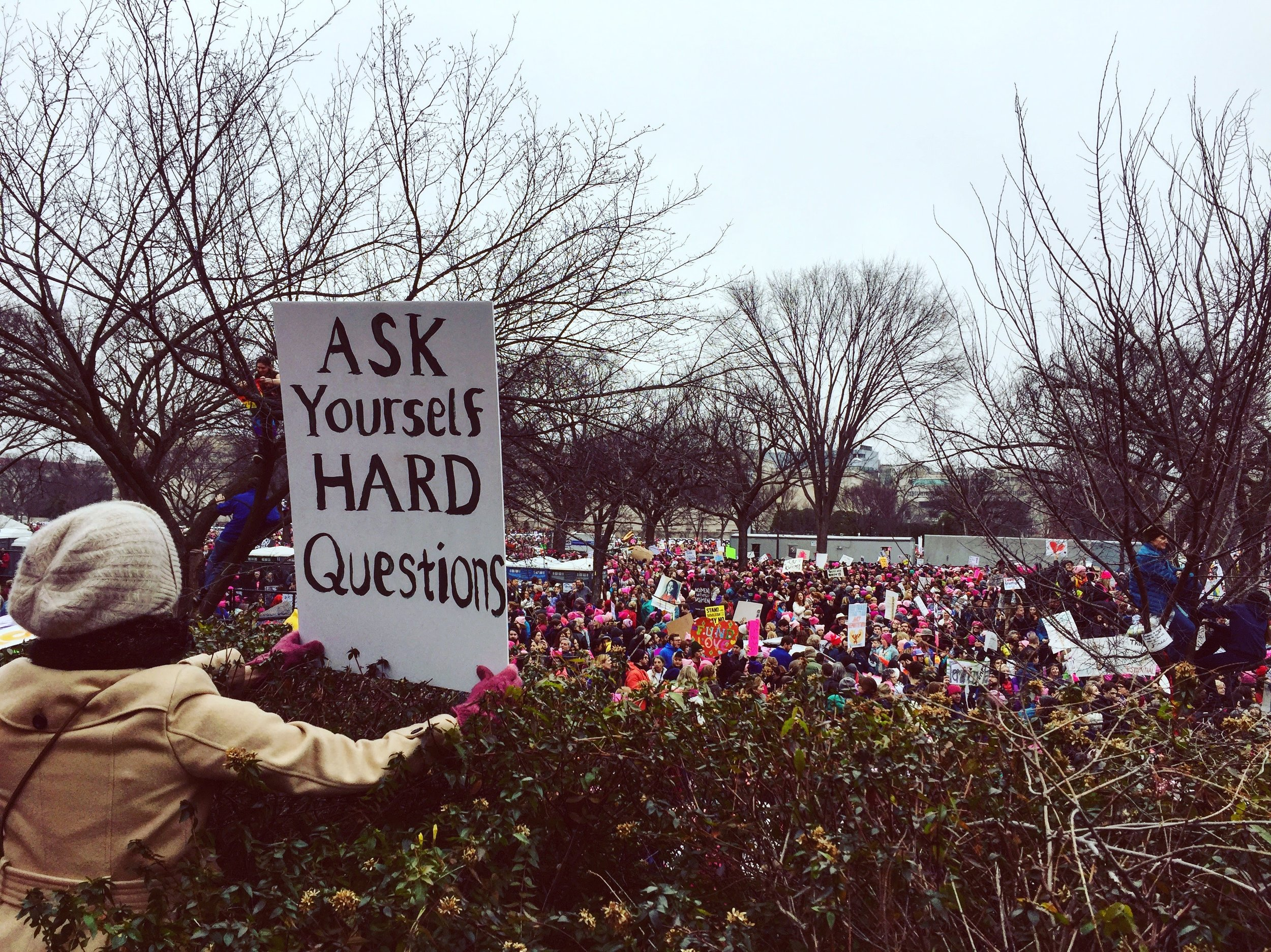 Ask yourself hard questions. (Photo by author, Women's March on Washington, 2017)
