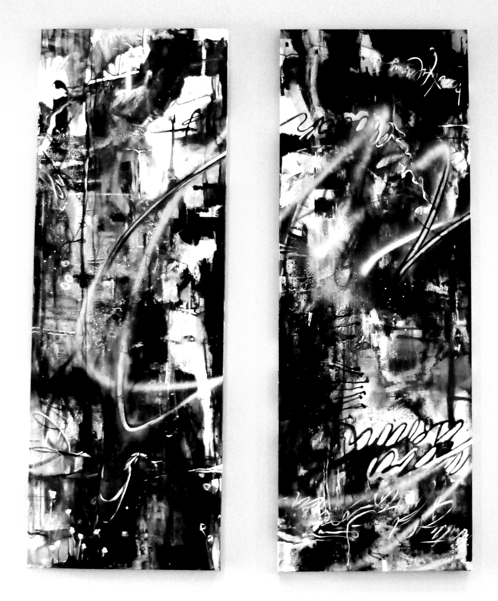 Chaos Panels,  72 in x 60 in., enamel, acrylic, oil, graphite, spray paint and aluminum on canvas, 2011