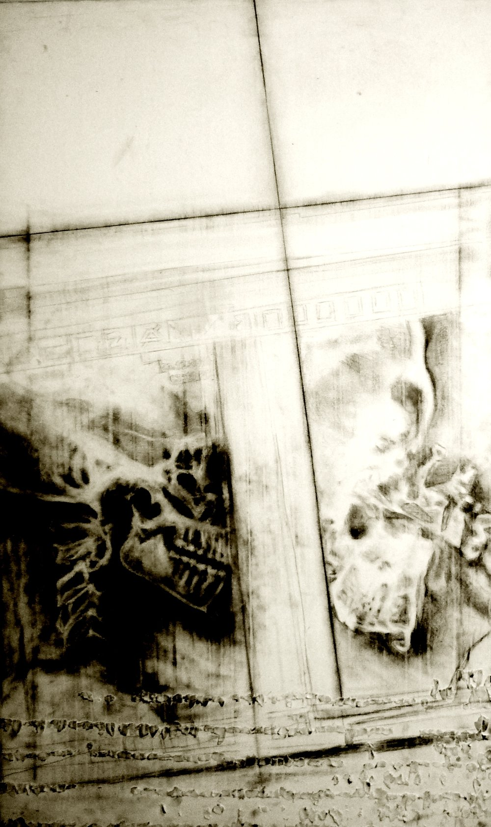 The Unconscious Decision, 50 in. x 30 in., graphite and charcoal on canvas, 2011