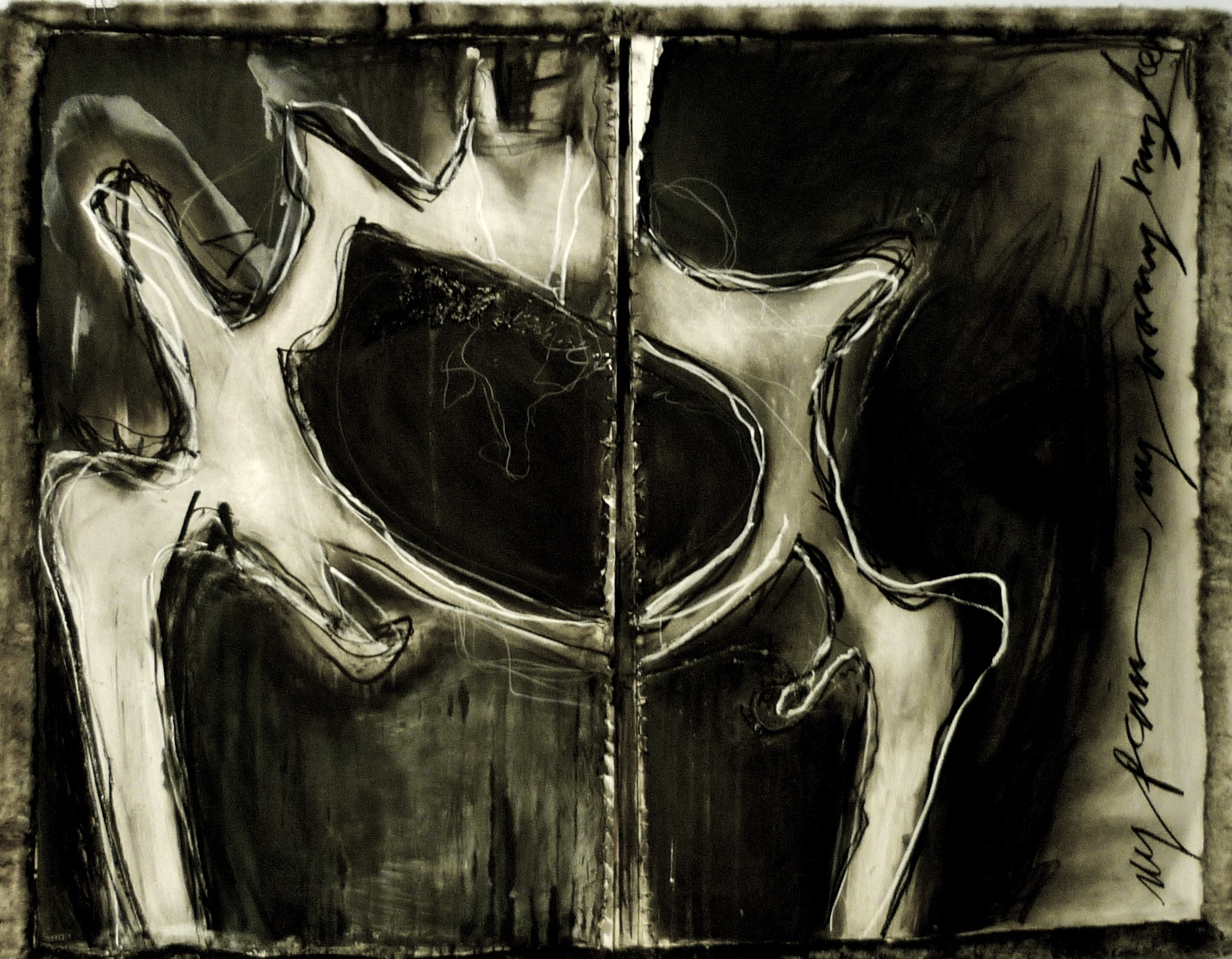 The Magdalene Book, 48 in. x 68 in., charcoal, conte, soap and faux fur on cotton rag paper, 2011