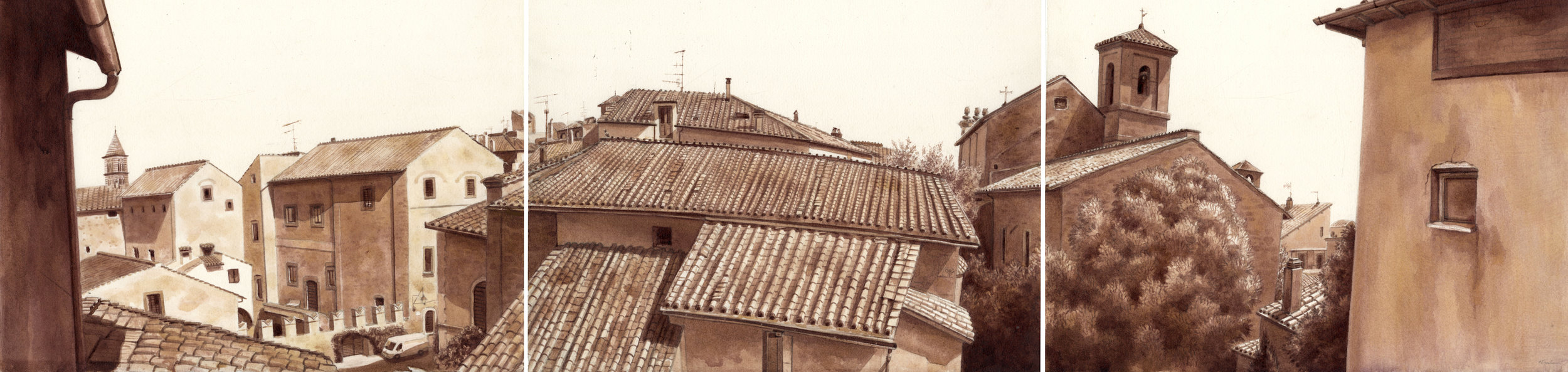 Rooftop View of an Italian Town (tryptic)