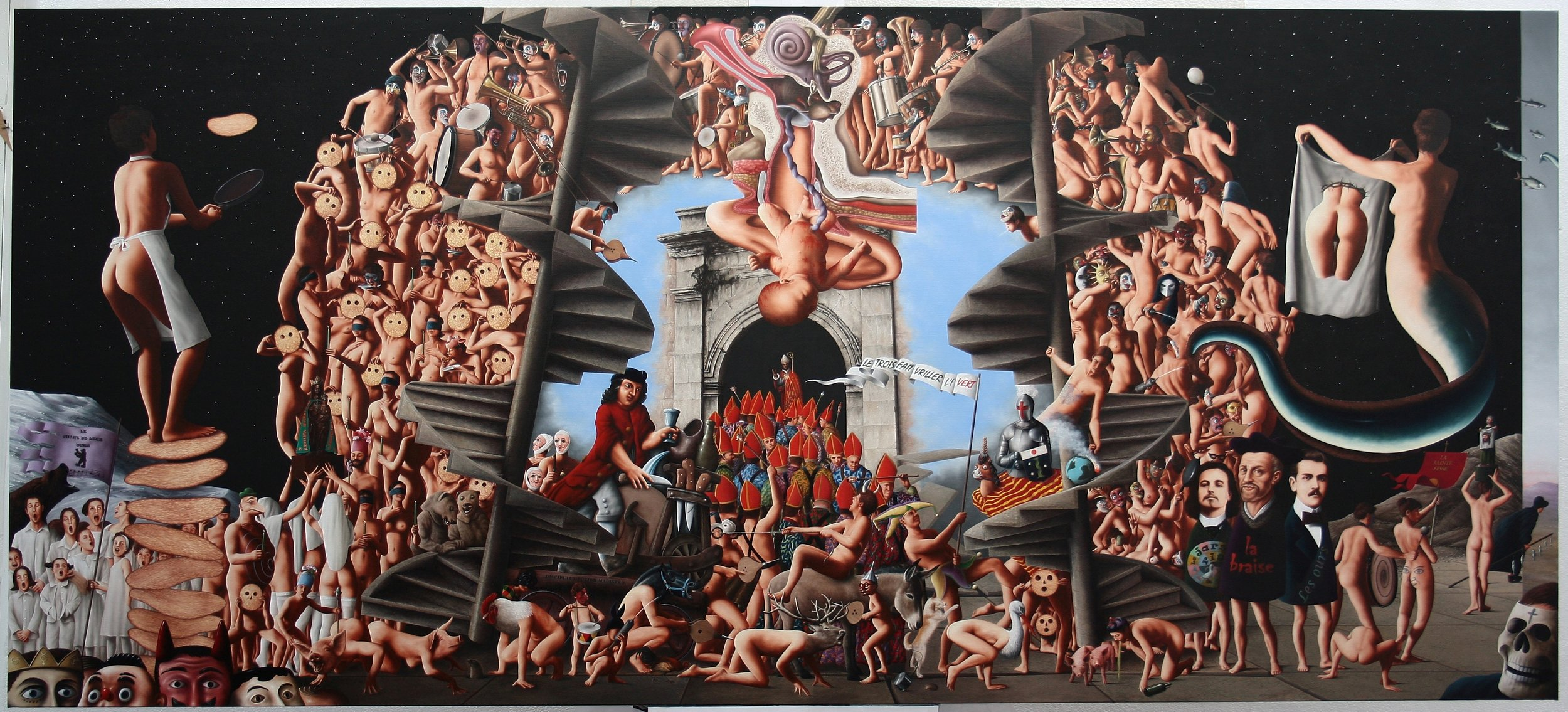 "LE GRASDIMAR DE BLAISE RA Sold THE CARNIVAL OF ST. BLAISE / RABELAIS (Blaise Ra = Ra Blaise = Rabelais) Oil on canvas 51.2"" x 114.2"""