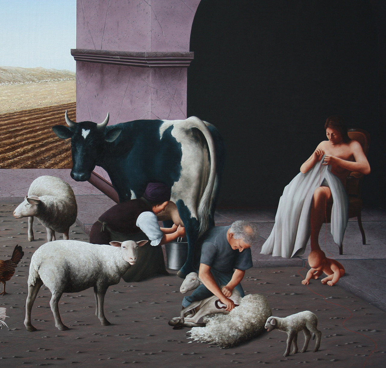 NIGHT AND DAY  huile sur toile 162 x 114 cm  détail THE WORKS OF FIELDS AND FARM - MILK AND FLEECE.JPG