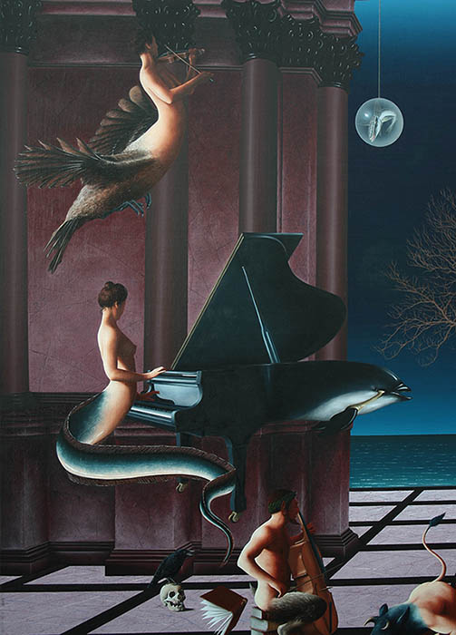 NIGHT AND DAY 2 huile sur toile 162 x 114 cm  détail  DREAMS OF NIGHT - MUSICIANS.jpg