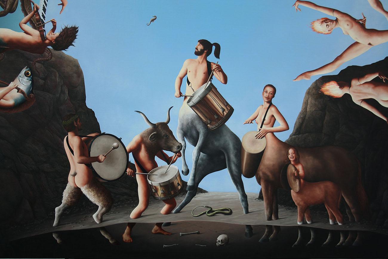 LES 4 ÉLÉMENTS huile sur toile 130 x 130 cm  détail EARTH AND OUROBOROS (1).jpg