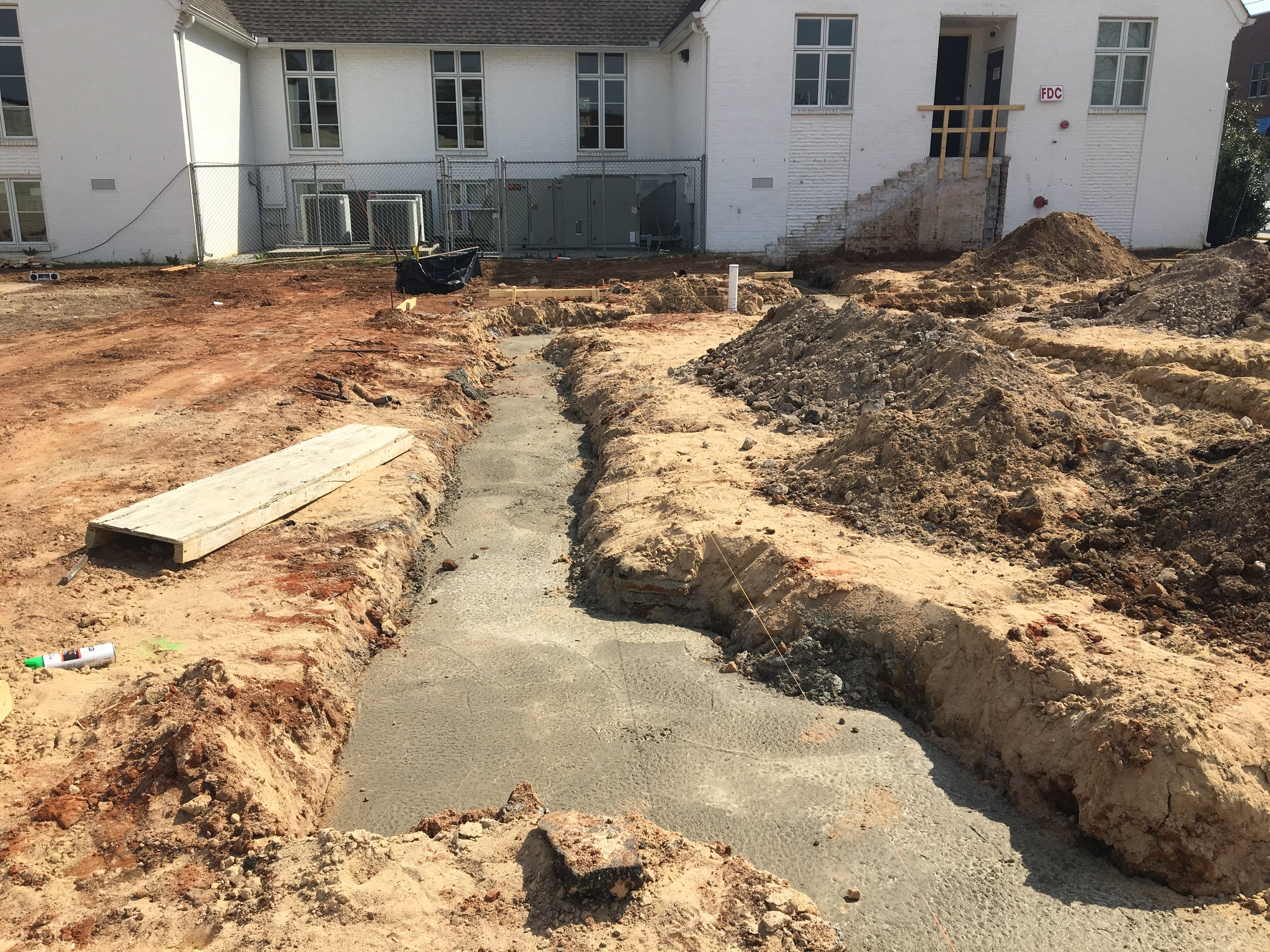 Excabation building footings backfilled with concrete.