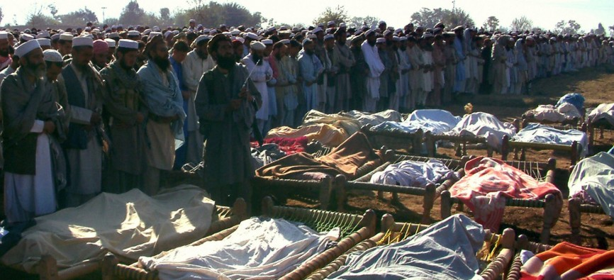 Victims of a U.S. drone attack in which 81 died, including children, are mourned in Pakistan in 2006.   Bureau of Investigative Journalism - Getty Images.