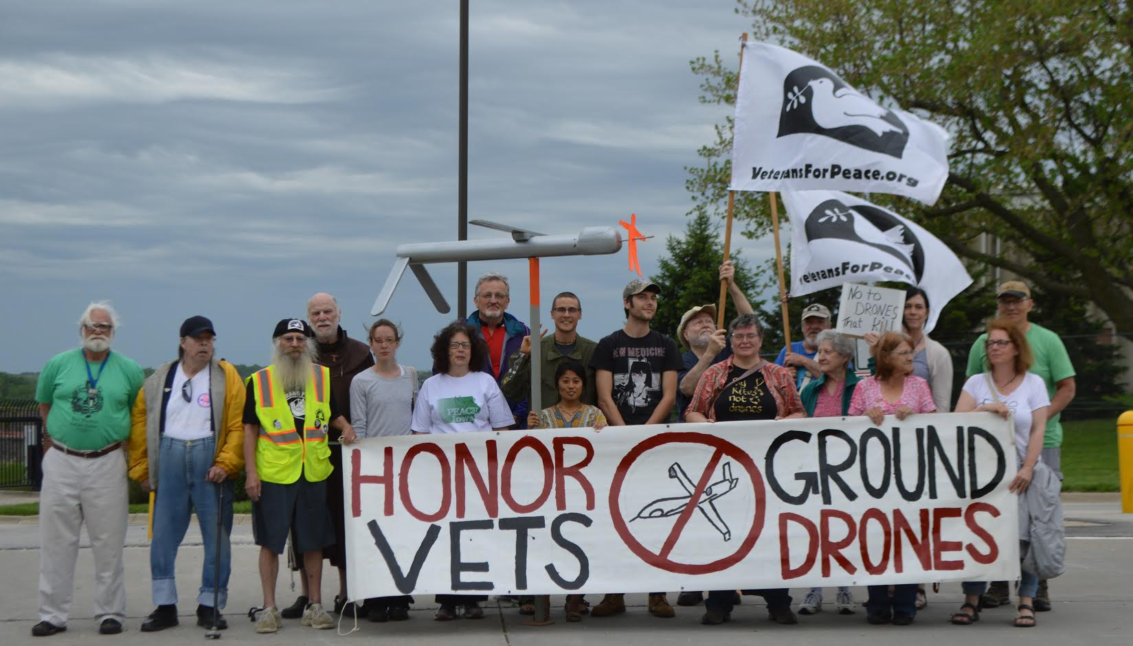 Catholic Workers and Veterans For Peace rally against U.S. drone killing on May 18, 2019, Armed Forces Day, outside the Des Moines Air National Guard Base drone control center.