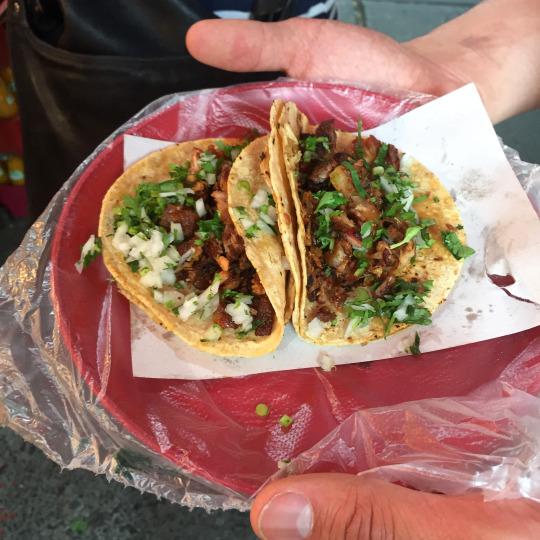Al pastor and tripe tacos