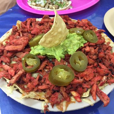 Super nachos with al pastor