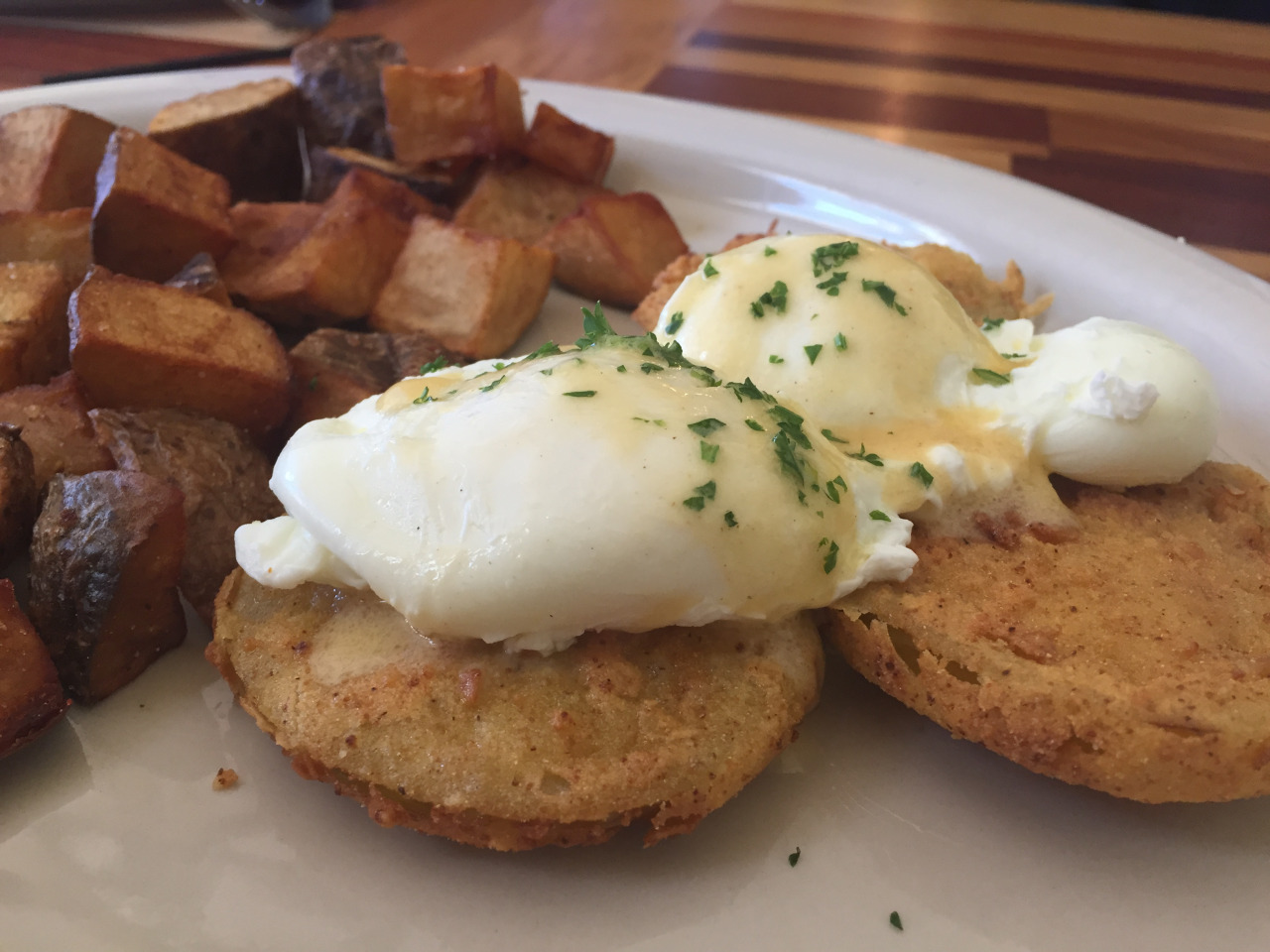 Red Neck Eggs aka Eggs Benedict with Fried Green Tomatoes from Elizabeth's Restaurant