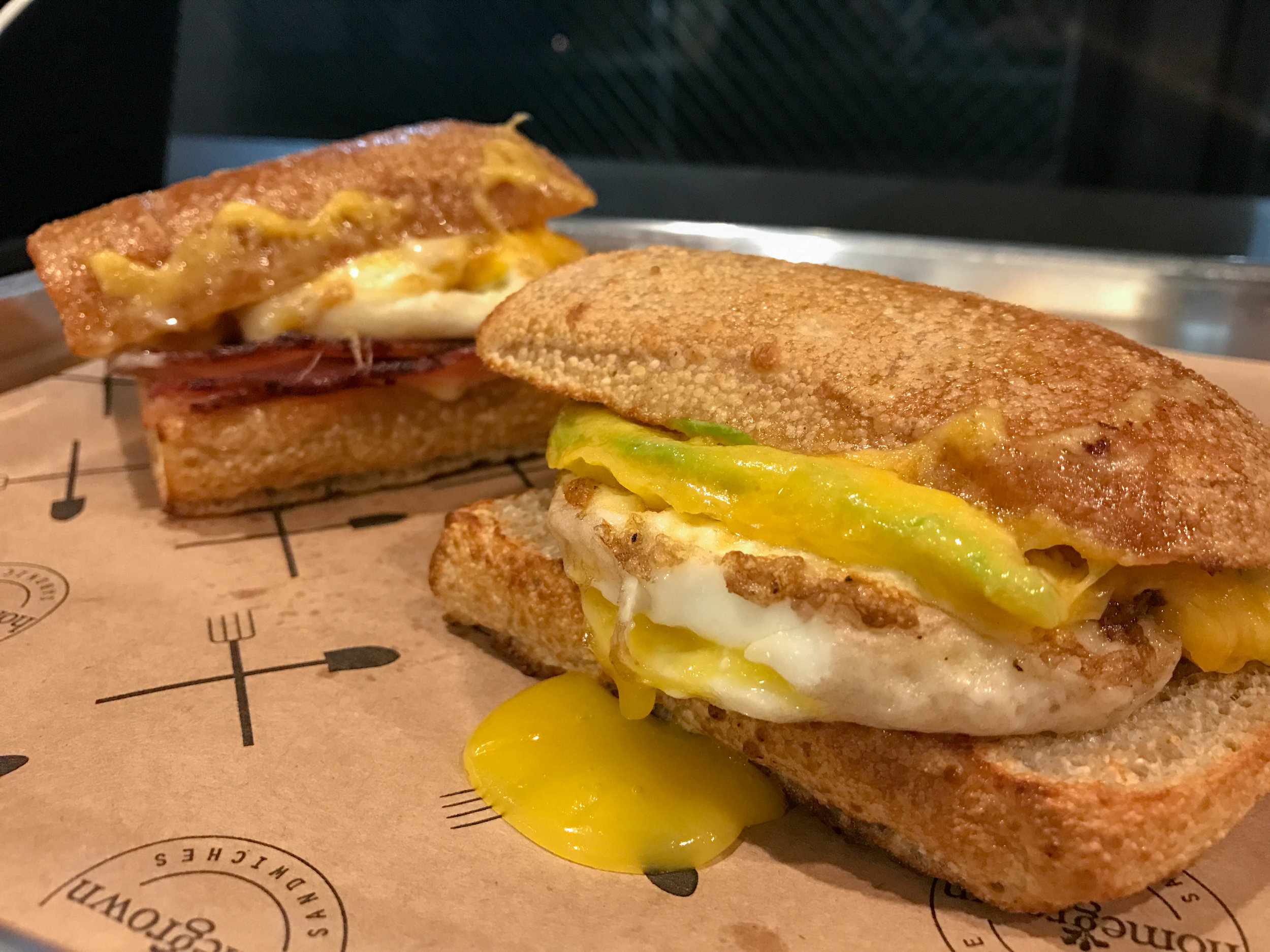 The breakfast sandwiches! Bacon, egg, and cheese and then avocado, egg, and cheese.