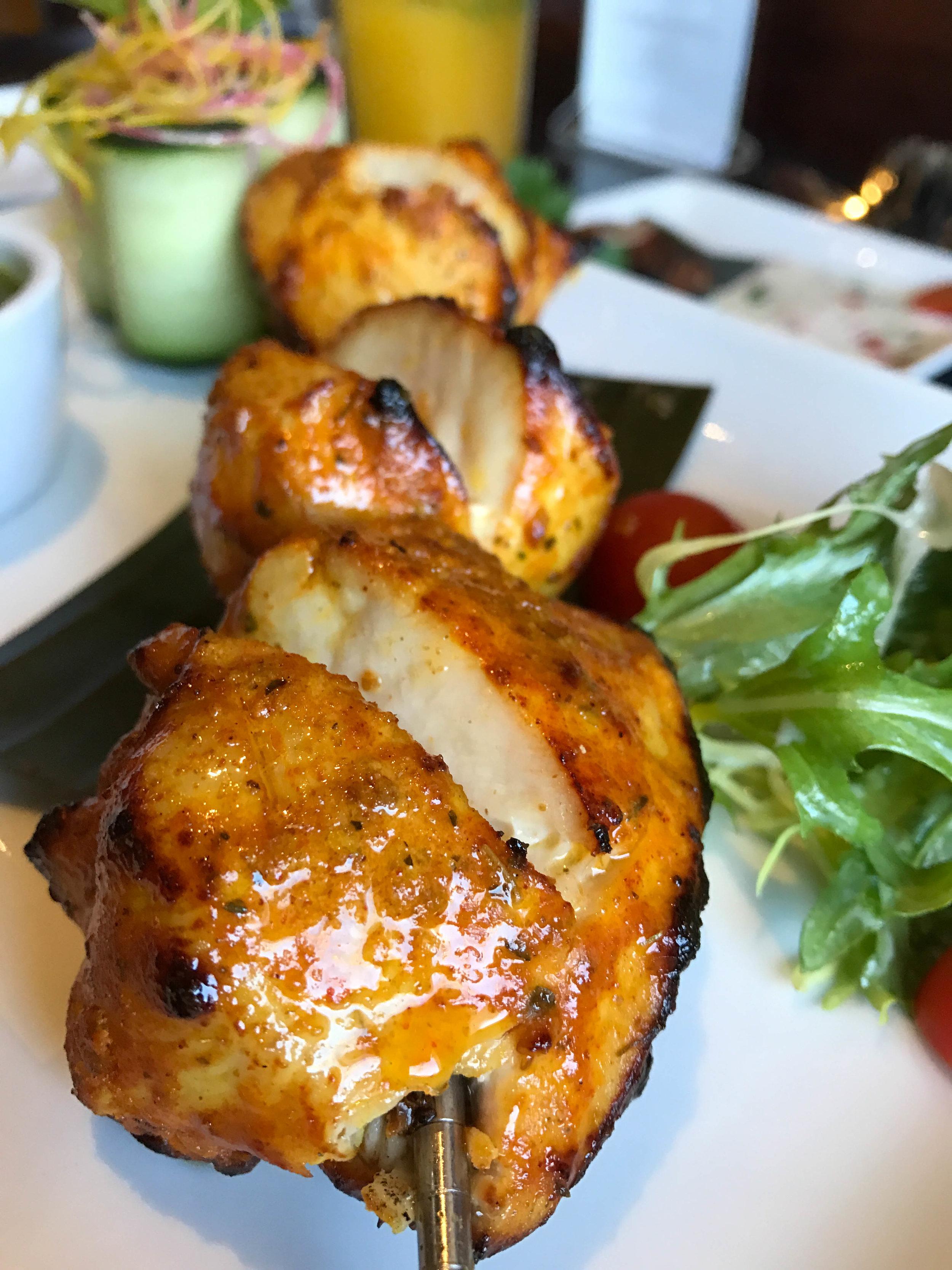 Chicken Tikka Kabob with house chutney