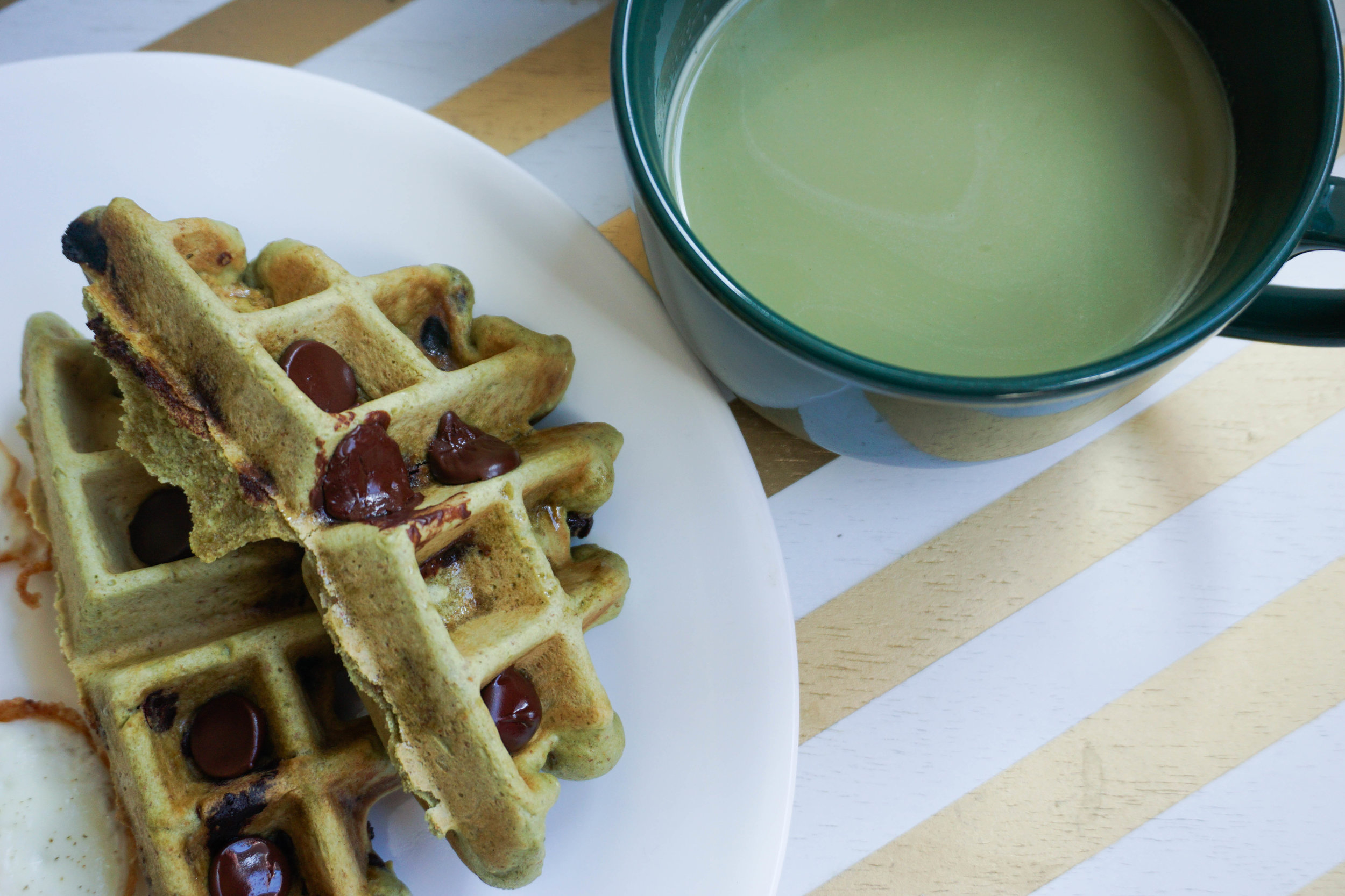 I got wild and had a matcha latte with my matcha waffles. OVERLOAD!