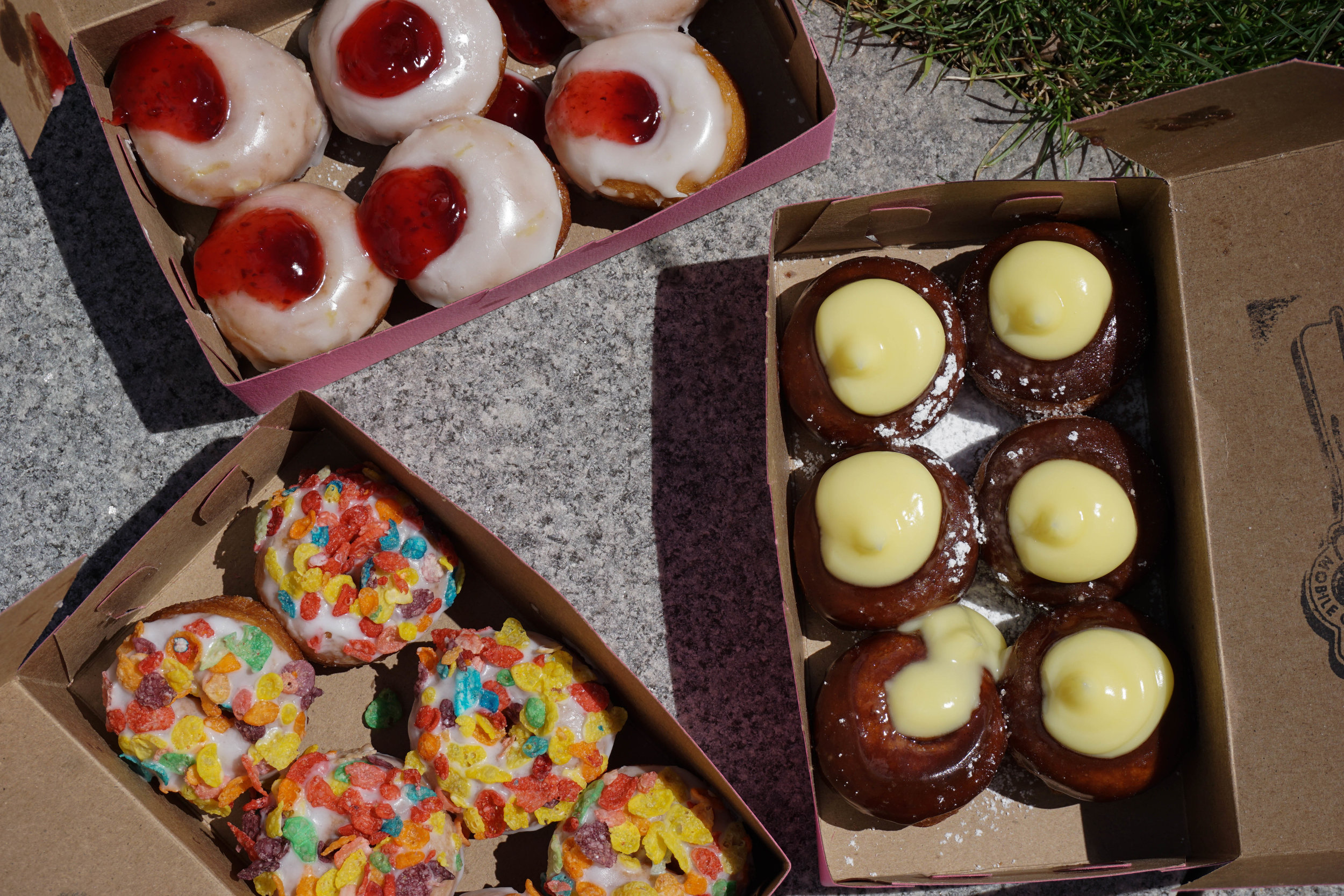 Lemon raspberry zingers, boston cream pies, and Bam Bams (fruity pebble-covered donuts)